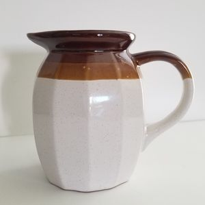 Vintage Stoneware Boho Neutral Ceramic Pitcher